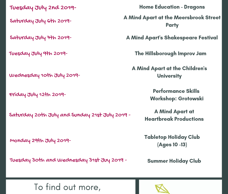 What's On at A Mind Apart in July?